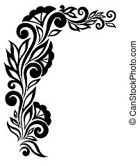 mooi, zwart-wit, kant, bloem, in, de, corner., met, ruimte,...
