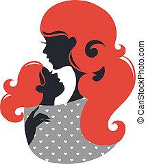 mooie baby, silhouette, slinger, moeder