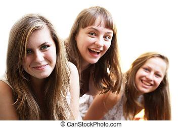 mooie meisjes, het glimlachen, op wit, achtergrond