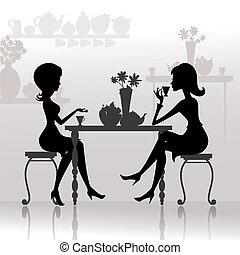 mooie meisjes, koffie, silhouette