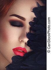 mooie ogen, rokerig, lippen, meisje, rood