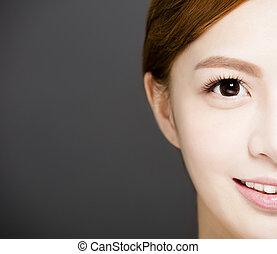 mooie ogen, vrouw, jonge, gezicht, closeup, helft