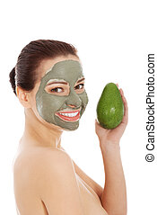 mooie vrouw, avocado, masker, gezichts, spa