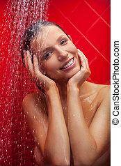 mooie vrouw, beauty, boeiend, shower., jonge, douche, het glimlachen