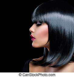 mooie vrouw, beauty, haar, girl., kort, brunette, black