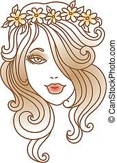 mooie vrouw, bloem, lineair, illustratie