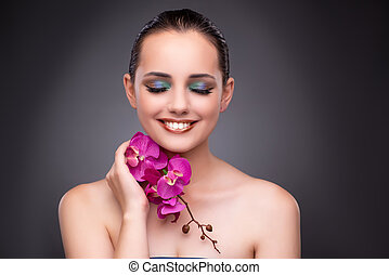 mooie vrouw, bloem, orchidee