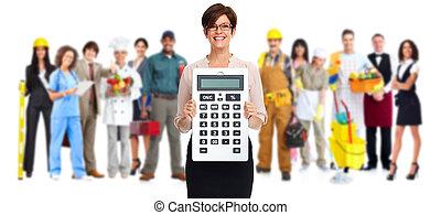 mooie vrouw, calculator., zakelijk, middelbare leeftijd