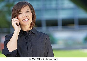 mooie vrouw, chinees, haar, mobiele telefoon, aziaat