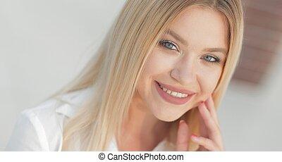 mooie vrouw, closeup, jonge, gezicht