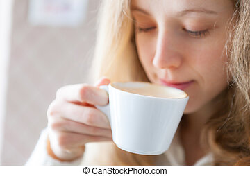 mooie vrouw, coffee., jonge, warme drank, drinkt