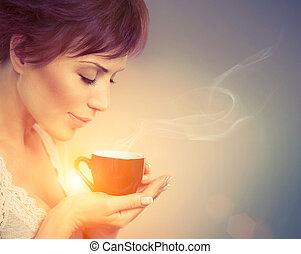 mooie vrouw, coffee., kop, warme drank, meisje, het genieten van
