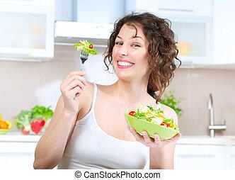 mooie vrouw, eten, slaatje, jonge, diet., groente
