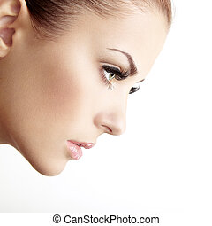 mooie vrouw, face., perfect, makeup