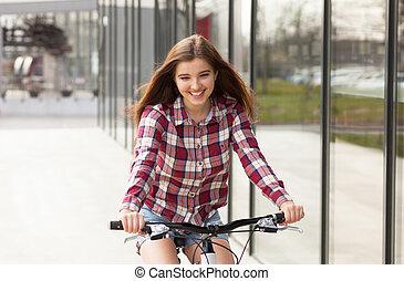 mooie vrouw, fiets, jonge