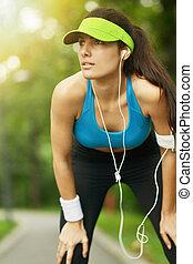 mooie vrouw, fitness
