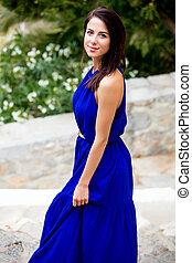 mooie vrouw, foto, griekenland, boompje, jonge, bloeien, trap