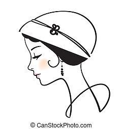 mooie vrouw, gezicht, met, hoedje, vector, illustratie