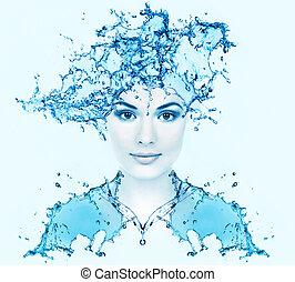 mooie vrouw, gezicht, met, water.
