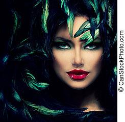 mooie vrouw, gezicht, portrait., mysterieus, closeup, model