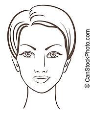mooie vrouw, gezicht, vector, illustratie