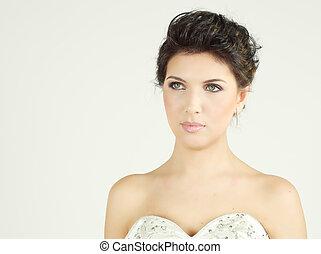 mooie vrouw, glamour, mode, verticaal, model
