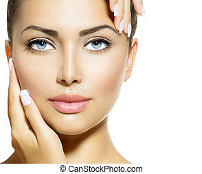 mooie vrouw, haar, beauty, gezicht, aandoenlijk, portrait.,...