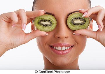 mooie vrouw, haar, gezonde , jonge, fruit, huid