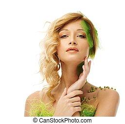 mooie vrouw, haar, lente, jonge, gezicht, aandoenlijk, kostuum, conceptueel