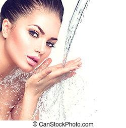 mooie vrouw, haar, water, plonsen, handen, model