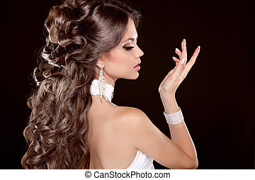 mooie vrouw, hairstyle., lang, glamour, mode, hair., verticaal