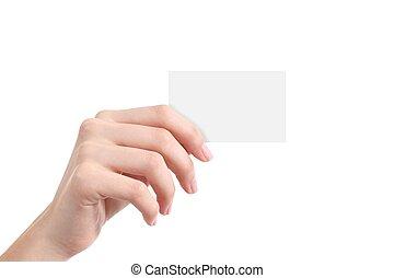 mooie vrouw, hand, het tonen, een, leeg visitekaartje