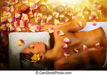 mooie vrouw, hebben, massage.