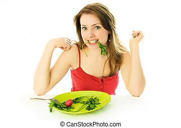 mooie vrouw, het behouden, een, dieet