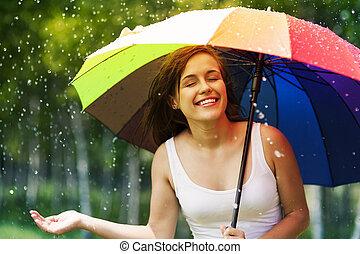 mooie vrouw, het genieten van, zomer, regen