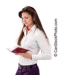 mooie vrouw, het lezen van een boek