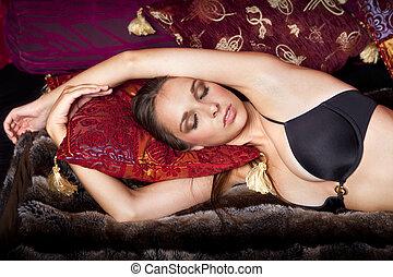 mooie vrouw, het liggen, bed