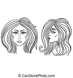 mooie vrouw, illustration., gezicht, vector, black , hair., voorkant, witte , zijaanzicht