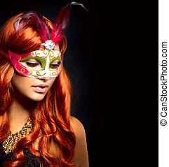 mooie vrouw, in, een, carnaval, mask., vrijstaand, op, black...