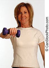 mooie vrouw, in, fitness, gym
