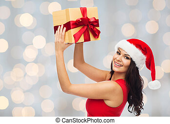 Kerstmuts Met Licht : Mooie vrouw cadeau geld op kerstmuts mooi blauwe concept