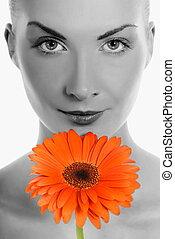 mooie vrouw, jonge, bloem, gerbera