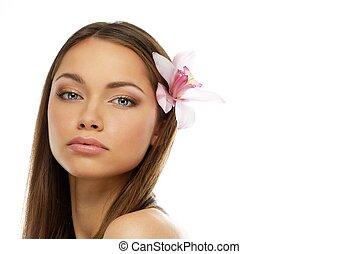 mooie vrouw, jonge, brunette, bloem, orchidee