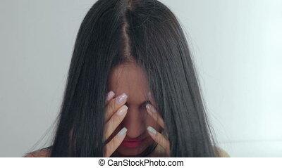 mooie vrouw, jonge, lang, black , hair.