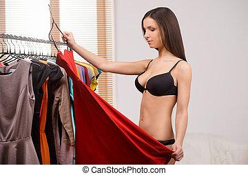 mooie vrouw, jonge, lingerie, slijtage, kies, wear., jurkje