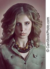 mooie vrouw, jonge, makeup