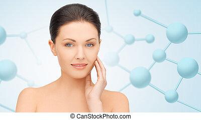 mooie vrouw, jonge, molecules, gezicht