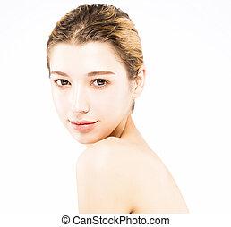 mooie vrouw, jonge, schoonmaken, gezicht