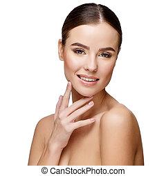 mooie vrouw, jonge, schoonmaken, huid, fris
