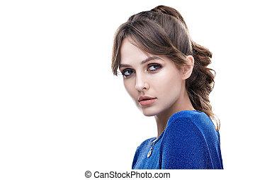 mooie vrouw, jonge, vrijstaand, achtergrond, verticaal, witte